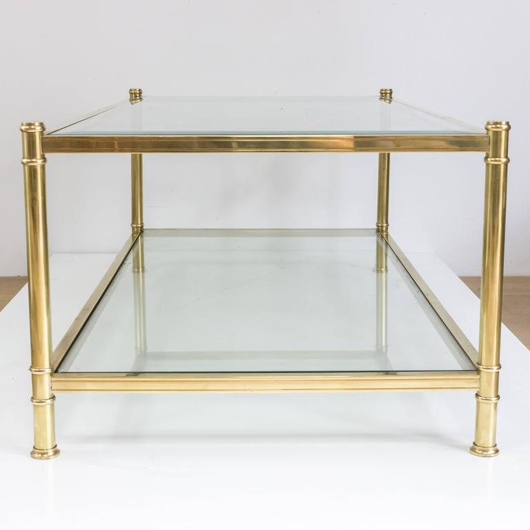 Large French Coffee Table: Large Midcentury Modern French Brass And Glass Coffee