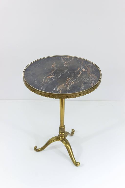 Small Round Brass And Bronze Side Table With Marble Top