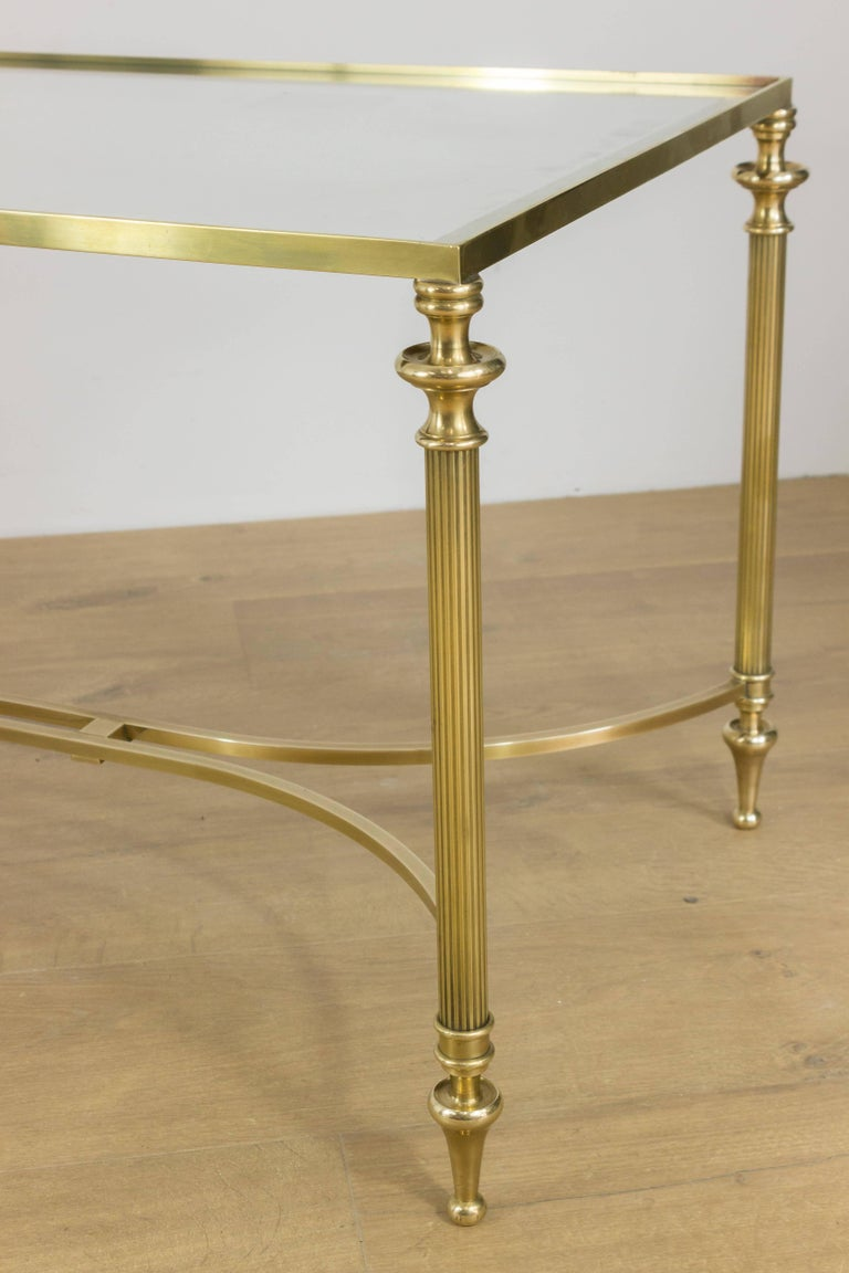 Neoclassical Brass Coffee Table With Clear Glass Top For Sale At 1stdibs
