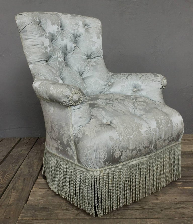 French 19th Century Tufted Armchair And Ottoman For Sale At 1stdibs
