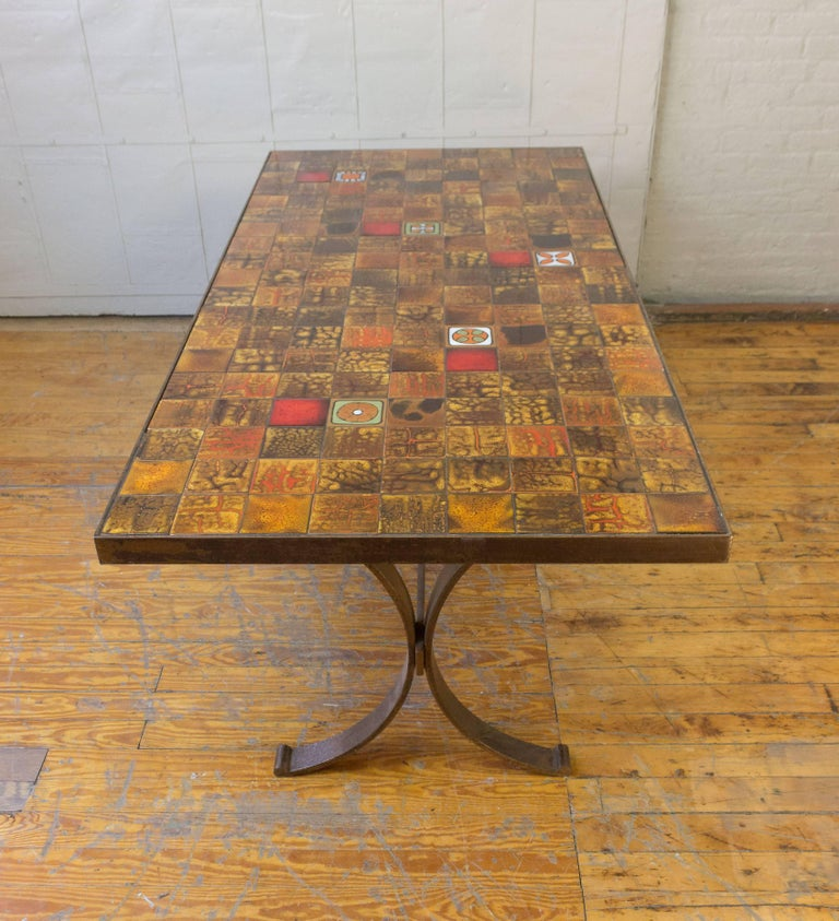 French S Dining Table With Ceramic Tiled Top At Stdibs - 1960s floor tiles