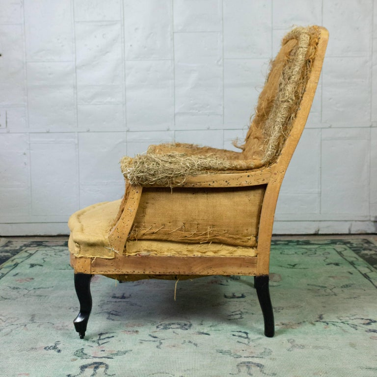 Napoleon III French 19th Century Armchair in Burlap For Sale