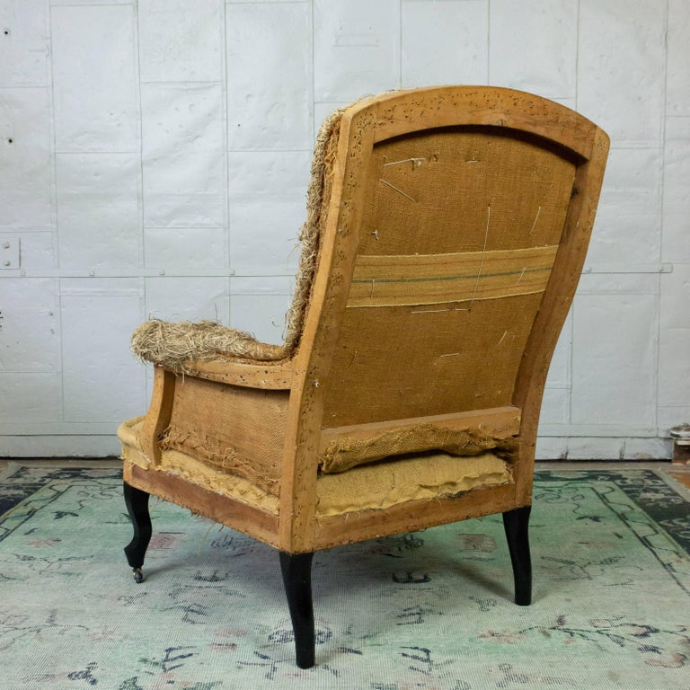 French 19th Century Armchair in Burlap In Good Condition For Sale In Long Island City, NY