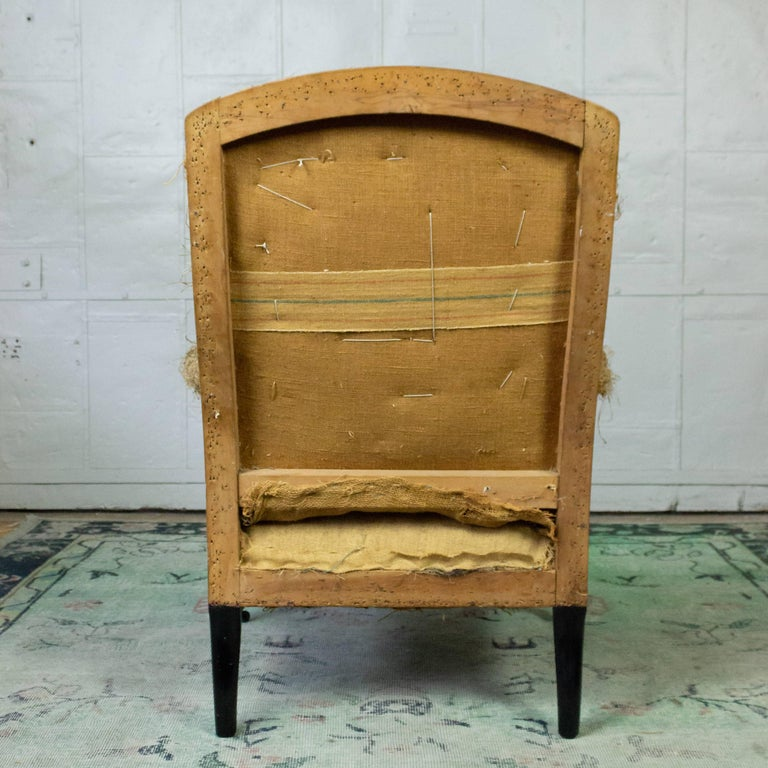 French 19th Century Armchair in Burlap For Sale 1