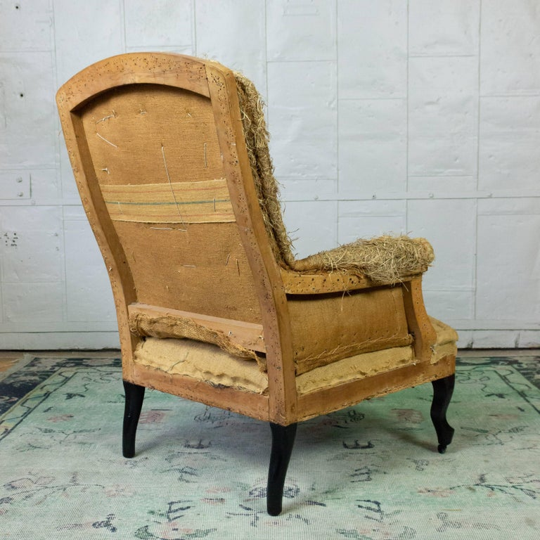 French 19th Century Armchair in Burlap For Sale 3