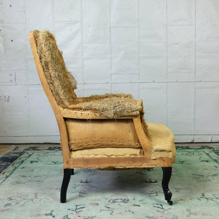French 19th Century Armchair in Burlap For Sale 4