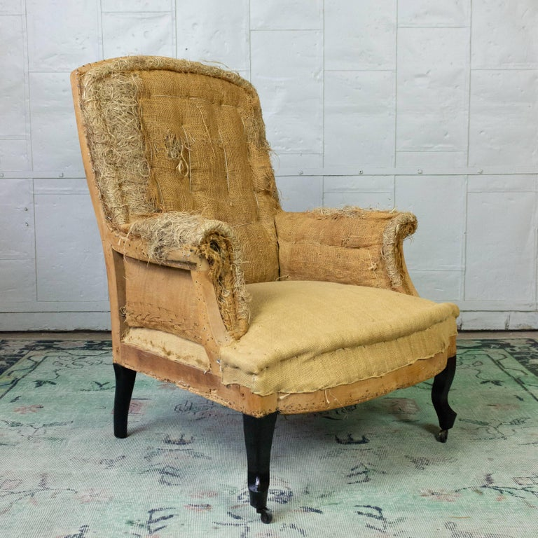 French 19th Century Armchair in Burlap For Sale 5