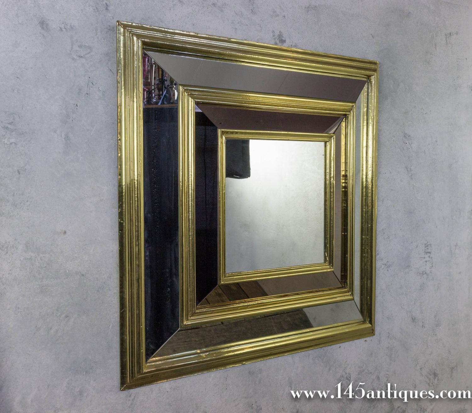 Large french 1980s square brass framed mirror for sale at for Big square wall mirror