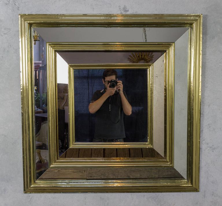Large French, 1980s Square Brass Framed Mirror For Sale at 1stdibs