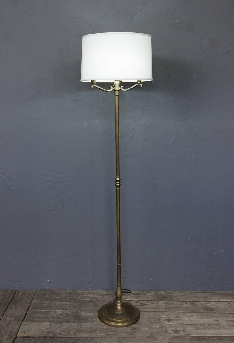 Handsome French Brass 1940s Floor Lamp For Sale At 1stdibs