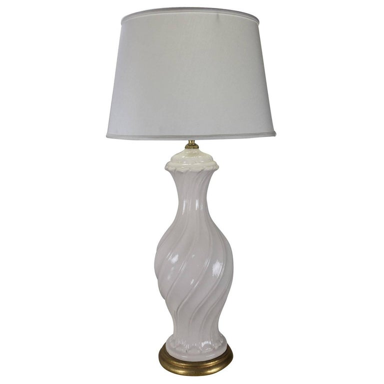 White Ceramic Lamp with Gold Base