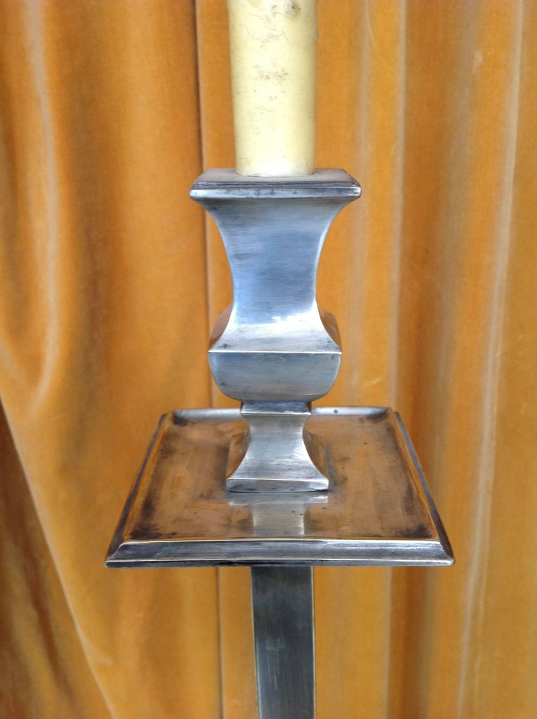 French 1950s Mid-Century Modern Nickel-Plated Floor Lamp For Sale 6