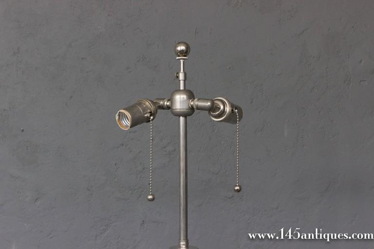 French Nickel Plated Bronze Floor Lamp With Triangular