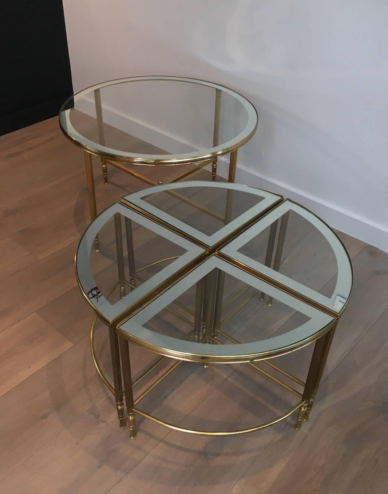 Round Brass Coffee Table With Four Smaller Nesting Tables At 1stdibs