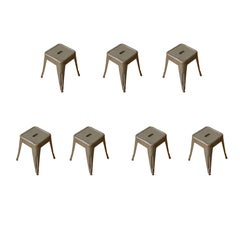 French 20th Century, Set of 7 Stackable Metal Air Force Stools