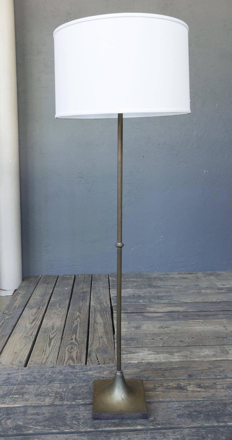 . French 1950 s Midcentury Modern Silver Plated Floor Lamp