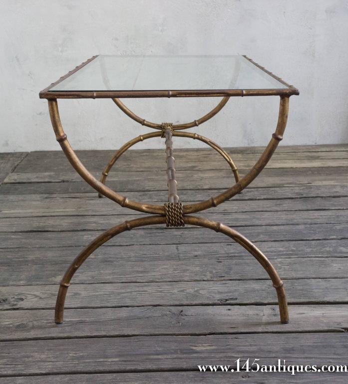 Italian Gold Gilt Iron And Glass Faux Bamboo Metal Square: Vintage Faux Bamboo Gilt Iron Table At 1stdibs