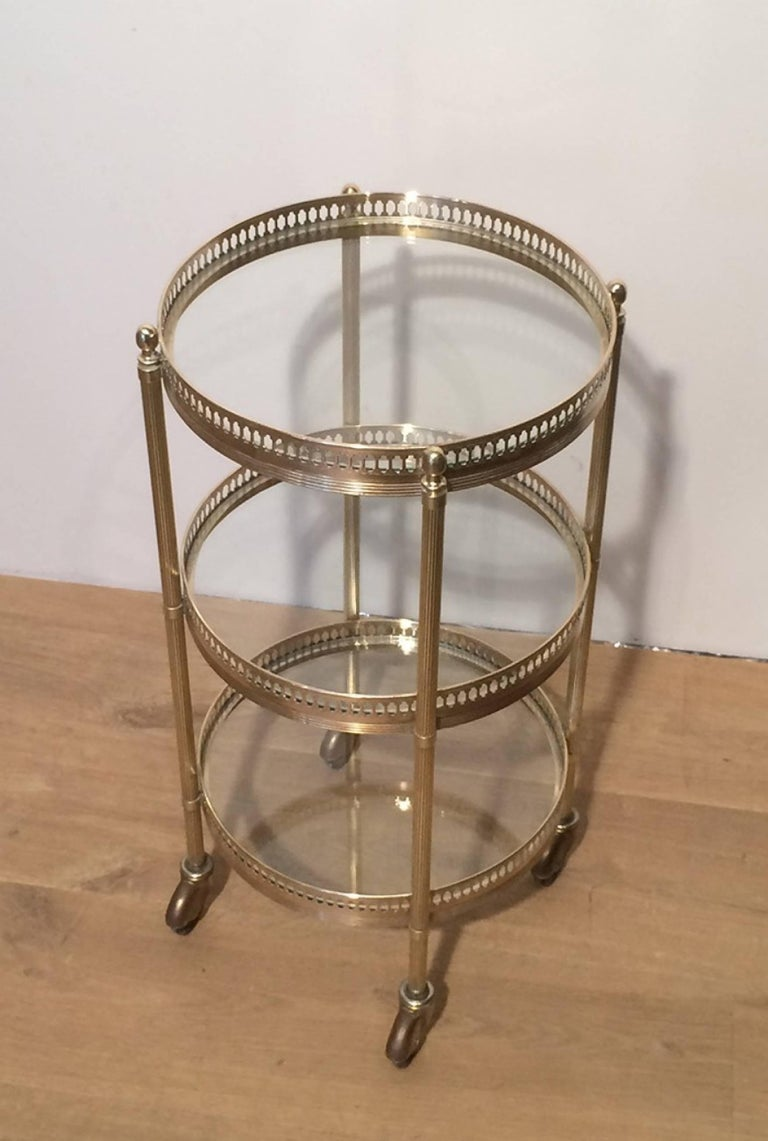 Small Round Brass Three Tiered Table On Casters By Maison