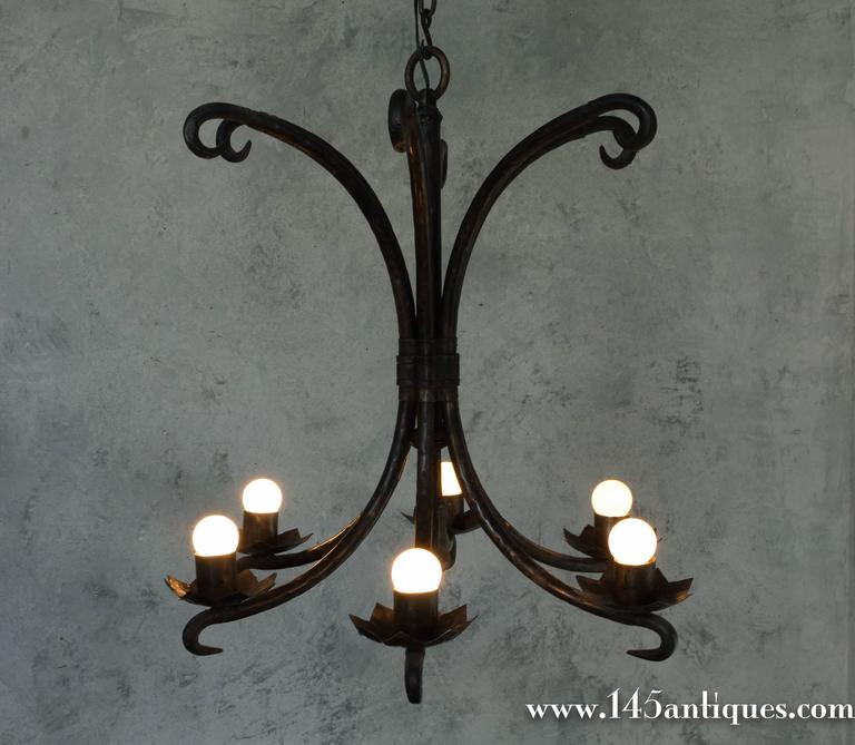 Blackened Spanish Wrought Iron Chandelier For Sale
