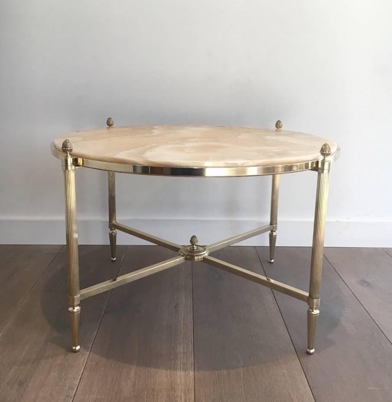 French Round Brass Coffee Table with Onyx Top by Maison Bagués, circa 1940