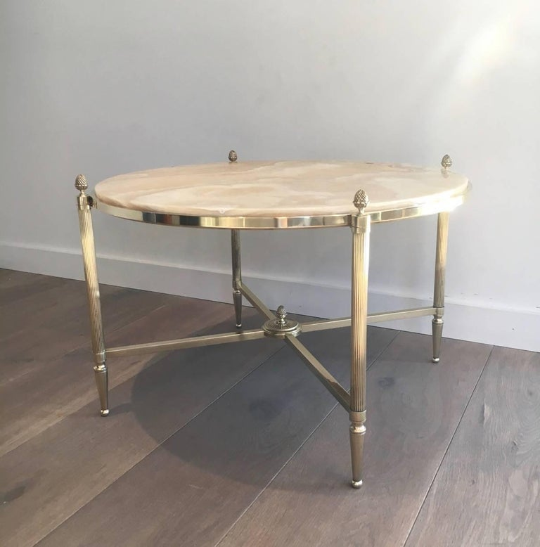 Round Brass Coffee Table with Onyx Top by Maison Bagués, circa 1940 In Good Condition In Buchanan, NY