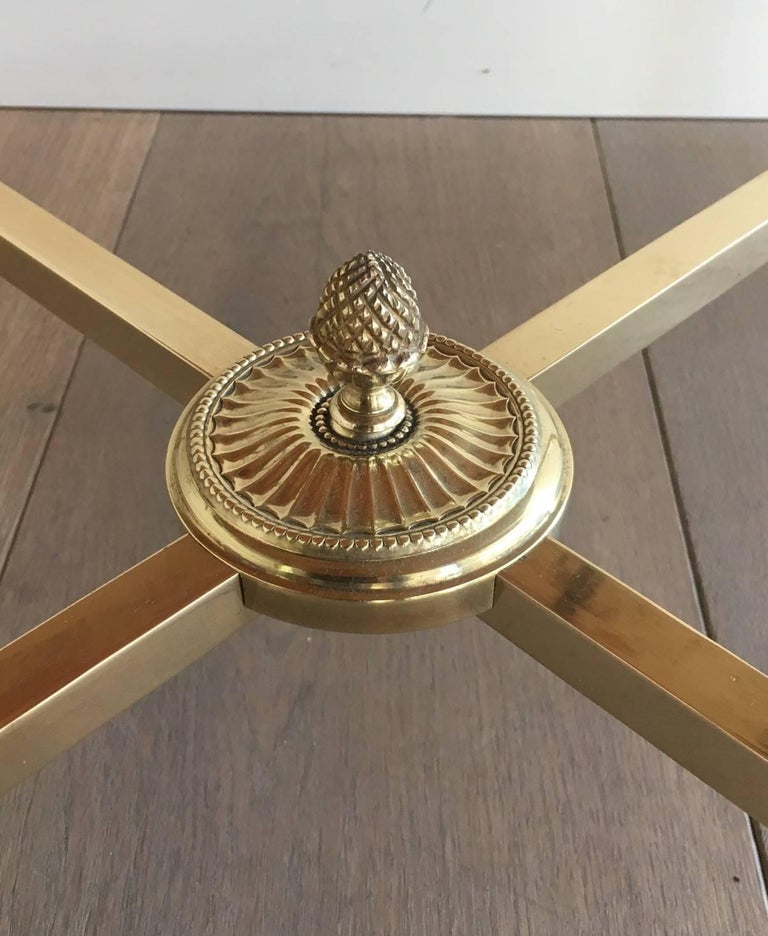Round Brass Coffee Table with Onyx Top by Maison Bagués, circa 1940 1
