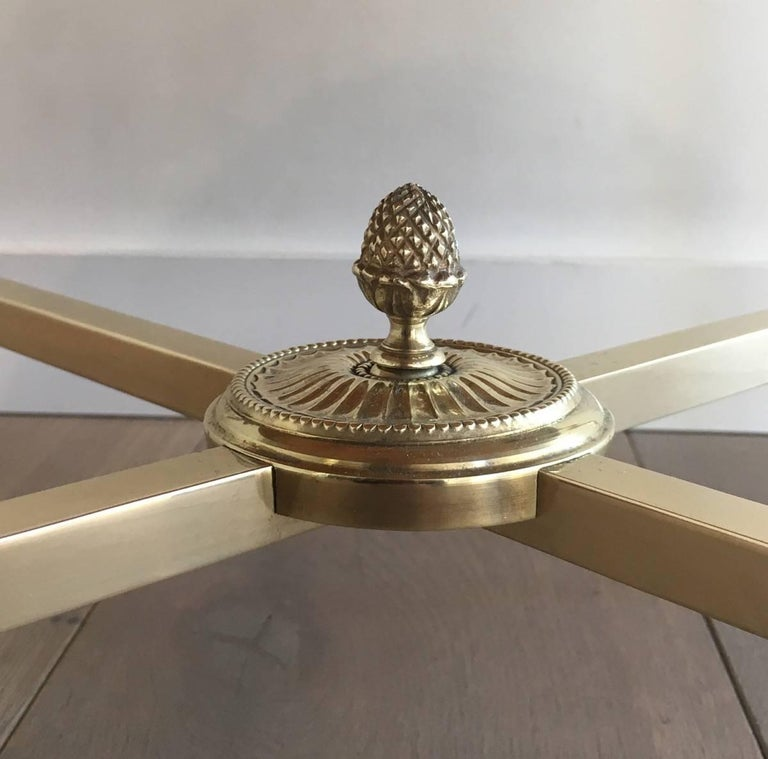 Round Brass Coffee Table with Onyx Top by Maison Bagués, circa 1940 4