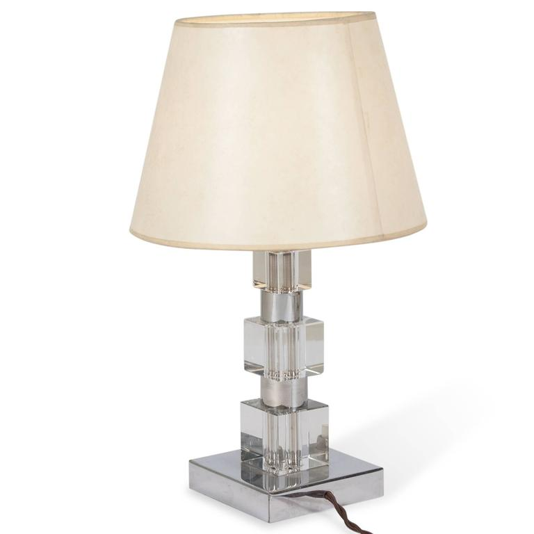 Chrome and Glass Desk Lamp, French, 1930s 4