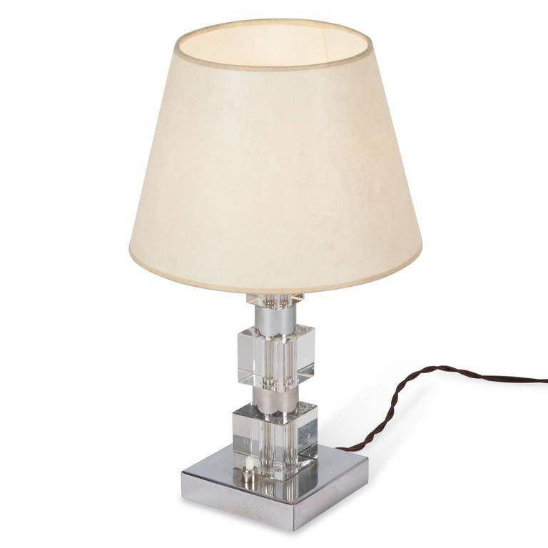 Chrome and Glass Desk Lamp, French, 1930s 3