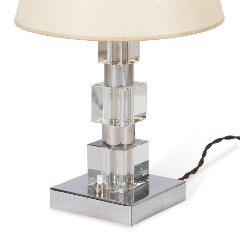Chrome and Glass Desk Lamp, French, 1930s 5