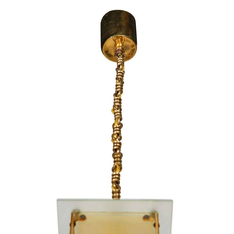 Hanging Lamp With Decorated Glass Shade German 1920s For