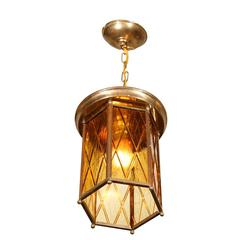 Hanging Lamp with Glass Shade, German, 1920s