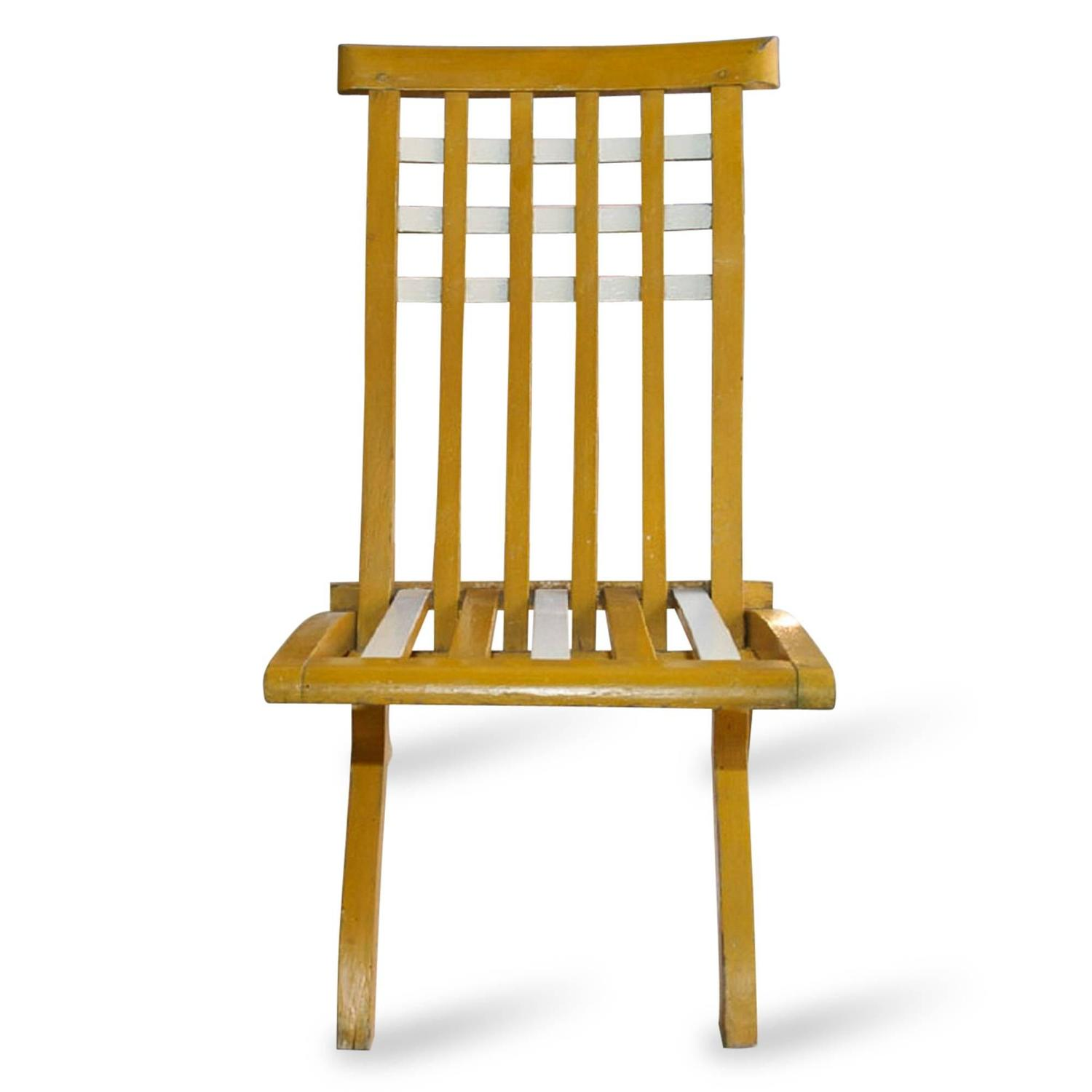 Set of French 1920s Wooden Folding Chairs For Sale at 1stdibs