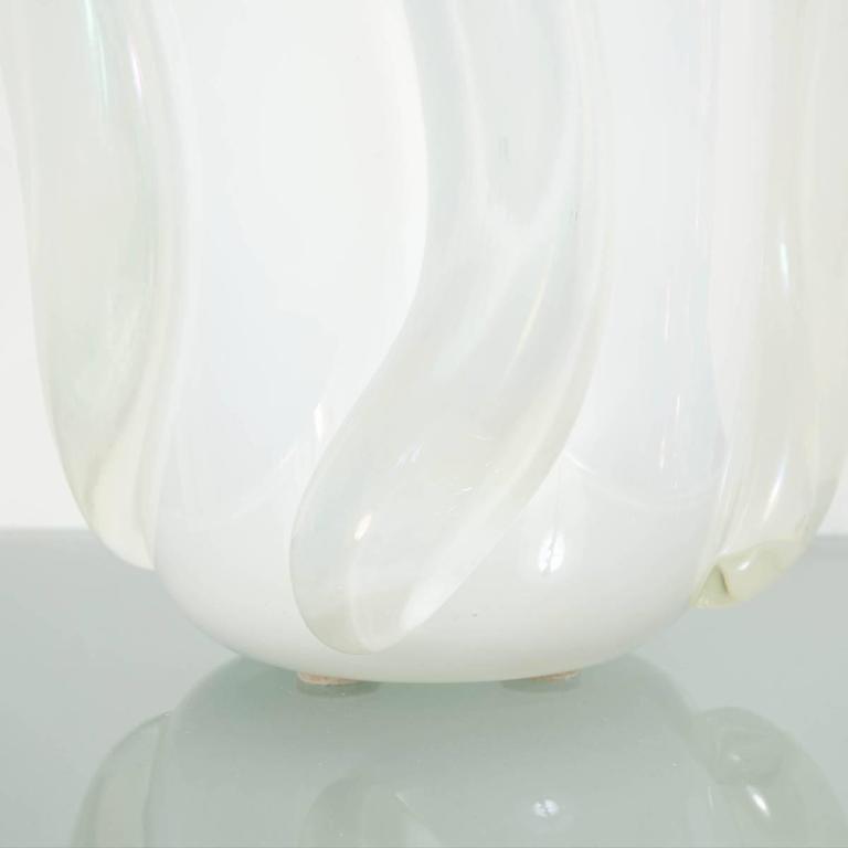 Italian Iridescent Murano Glass Vase by Pino Signoretto For Sale