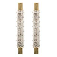 Pair of Narrow Polished Brass and Crystal Sconces