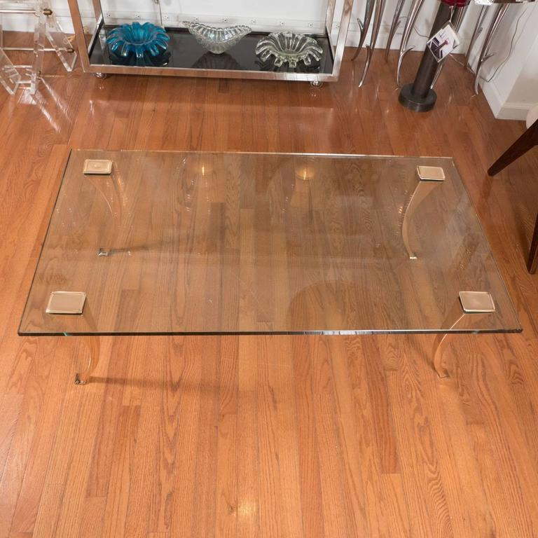 Italian Brass Coffee Table with Sculptural Brass Legs For Sale