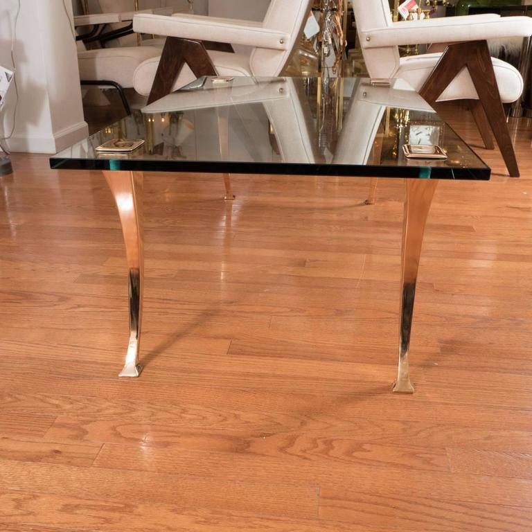 Mid-Century Modern Brass Coffee Table with Sculptural Brass Legs For Sale