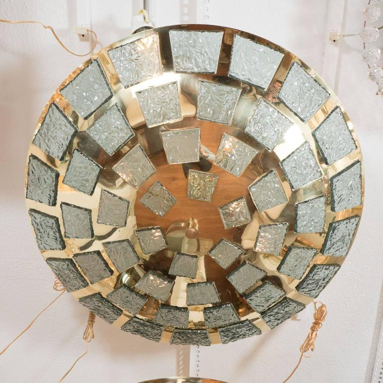Mid-Century Modern Polished Brass Ceiling Fixture with Inset Glass Fragments For Sale
