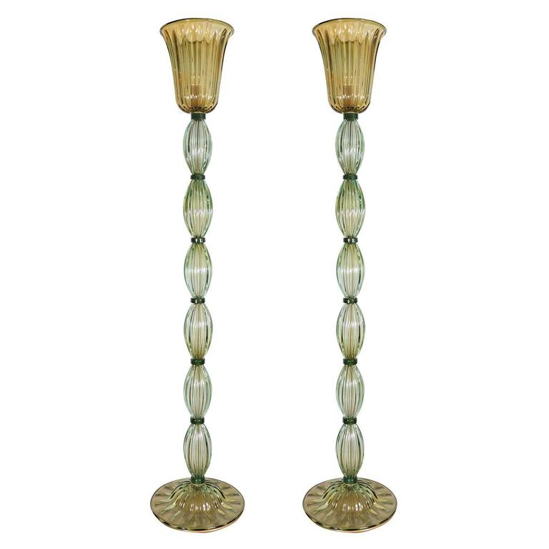 Pair of light olive murano glass floor lamps for sale at for Olive wood floor lamp