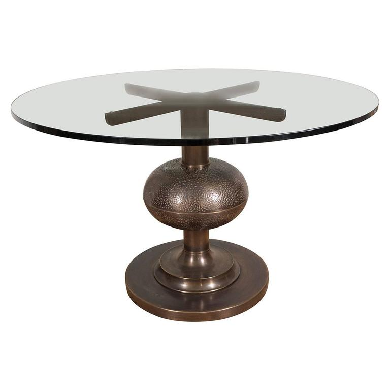 Circular Patinated and Repoussed Bronze Center Table