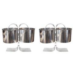 Pair of Curvilinear Aluminum Table Lamps