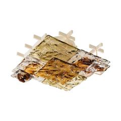 Square Clear and Amber Textured Glass Flush Mount