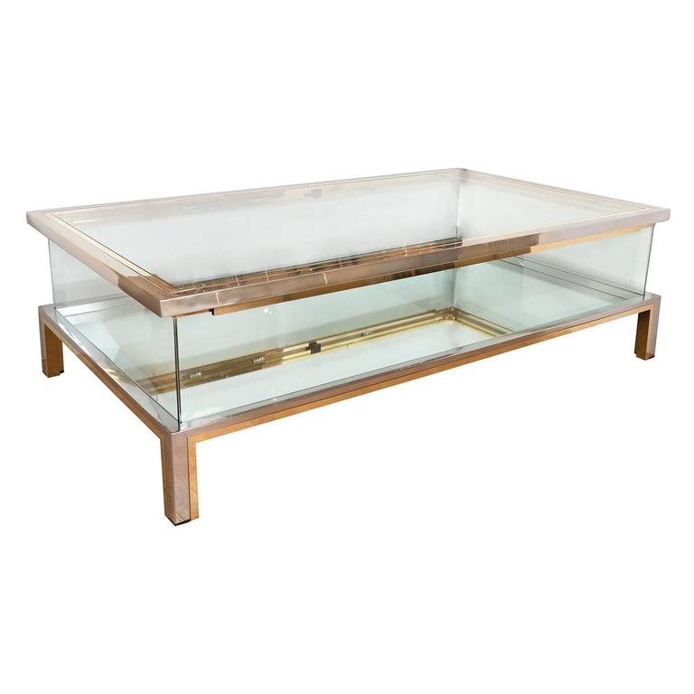 Emerson Rectangular Mod Swivel Coffee Table W Glass: Rectangular Brass, Nickel And Glass Coffee Table For Sale