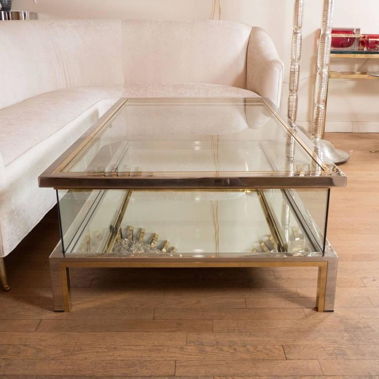 Italian Rectangular Brass, Nickel and Glass Coffee Table For Sale