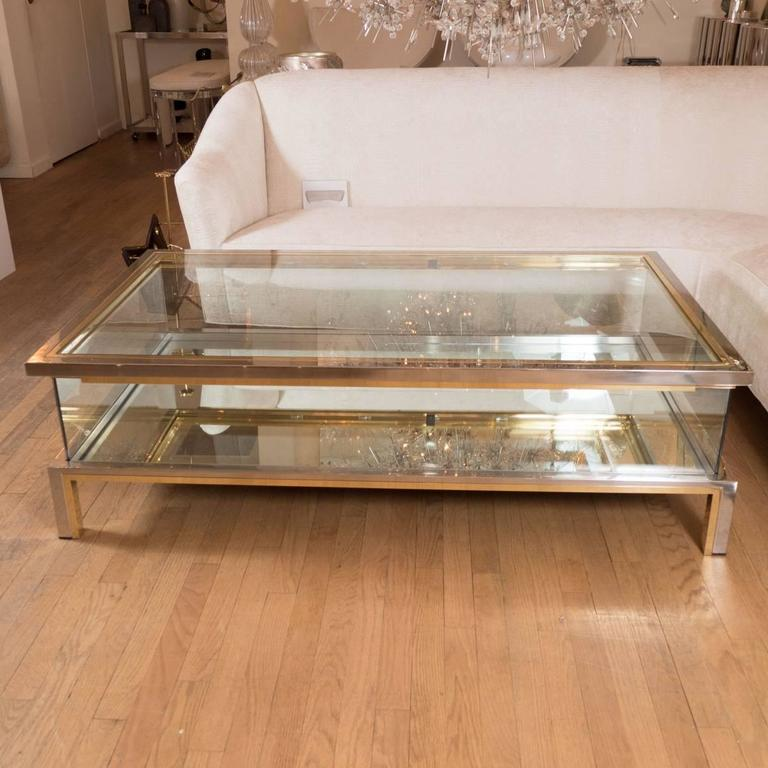 Mid-Century Modern Rectangular Brass, Nickel and Glass Coffee Table For Sale