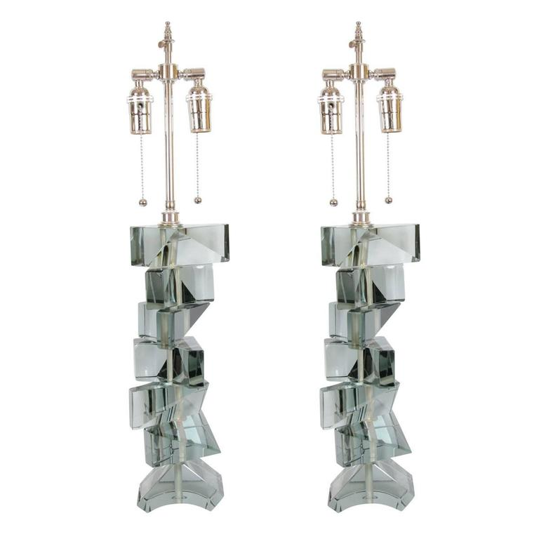 Pair of Stacked Glass Fragment Table Lamps For Sale