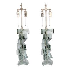 Pair of Stacked Glass Fragment Table Lamps
