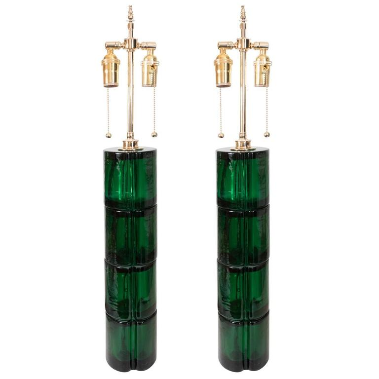 Pair of Green Murano Glass Lamps For Sale