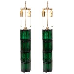 Pair of Green Murano Glass Lamps