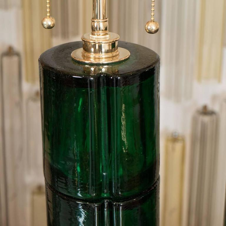 Mid-Century Modern Pair of Green Murano Glass Lamps For Sale